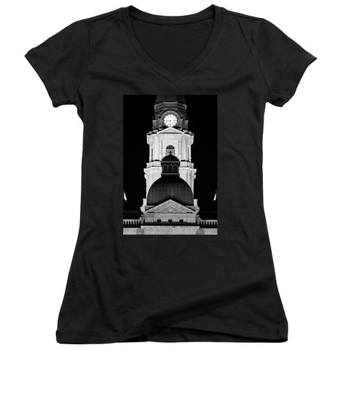 Tarrant County Courthouse Bw V1 020815 Women's V-Neck (Athletic Fit)