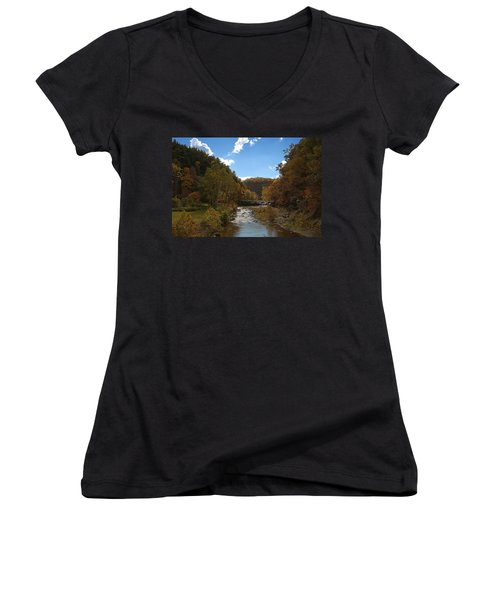 Women's V-Neck T-Shirt (Junior Cut) featuring the photograph Taughannock Lower Falls Ithaca New York by Paul Ge