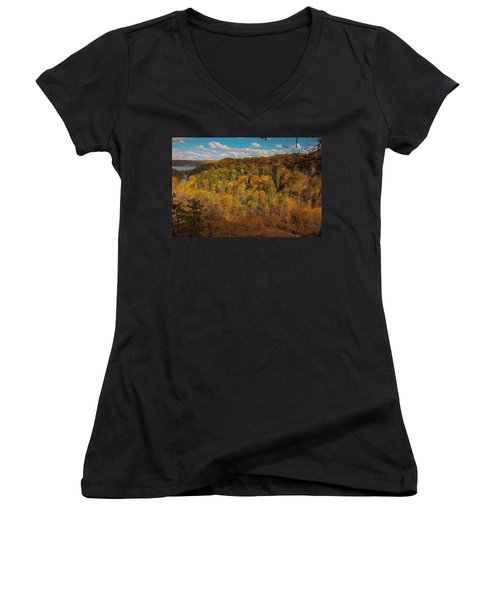 Women's V-Neck T-Shirt (Junior Cut) featuring the photograph Taughannock River Canyon In Colorful Fall Ithaca New York II by Paul Ge