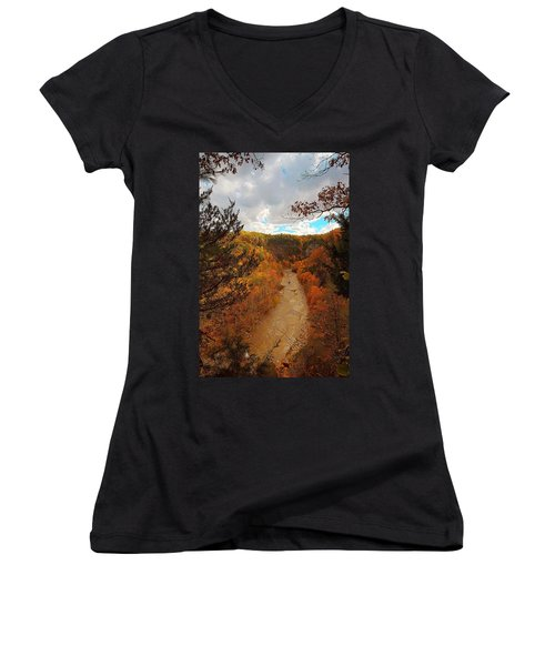 Women's V-Neck T-Shirt (Junior Cut) featuring the painting Taughannock River Canyon In Colorful Fall Ithaca New York IIi by Paul Ge