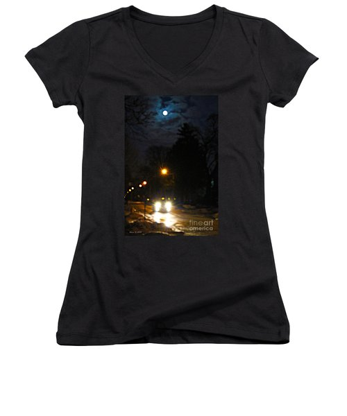 Women's V-Neck T-Shirt (Junior Cut) featuring the photograph Taxi In Full Moon by Nina Silver