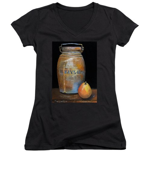 Taylor Jug With Pear Women's V-Neck T-Shirt