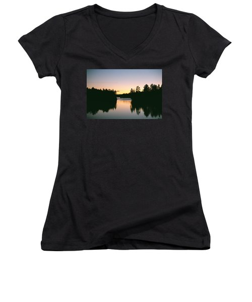 Tea Lake Sunset Women's V-Neck T-Shirt (Junior Cut) by David Porteus