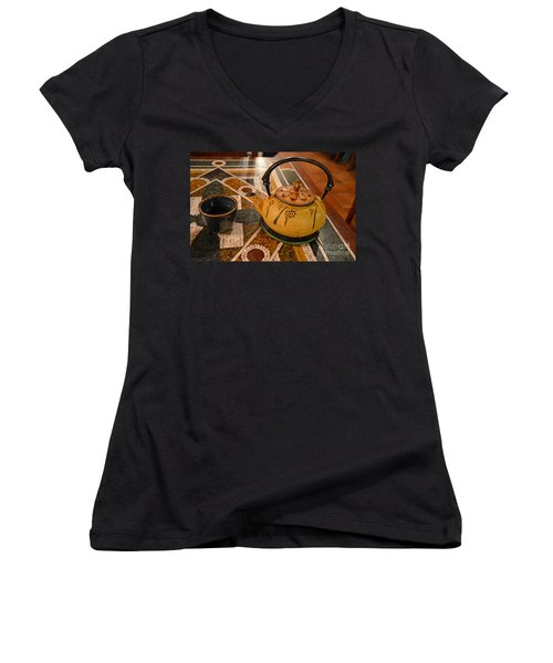 Women's V-Neck T-Shirt (Junior Cut) featuring the photograph Tea Time In Asia by Robert Meanor