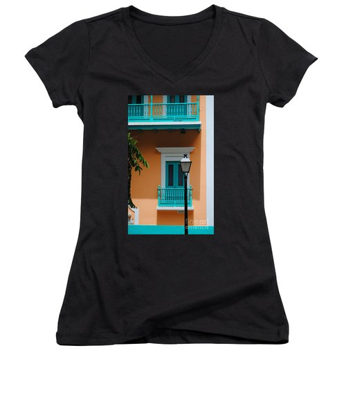 Teal With Pale Orange Women's V-Neck