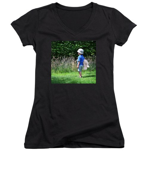 Women's V-Neck T-Shirt (Junior Cut) featuring the photograph Teddy Bear Walk by Keith Armstrong