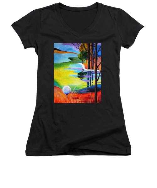 Tee Off Mindset- Golf Series Women's V-Neck T-Shirt (Junior Cut) by Betty M M   Wong
