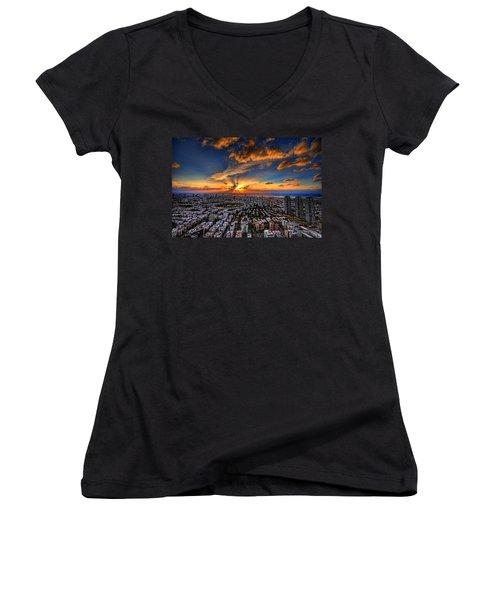 Tel Aviv Sunset Time Women's V-Neck T-Shirt (Junior Cut) by Ron Shoshani