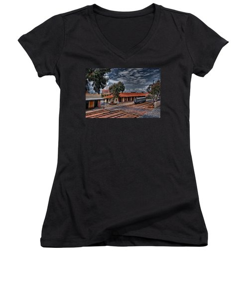 Women's V-Neck T-Shirt (Junior Cut) featuring the photograph Tel Aviv To Jerusalem by Ron Shoshani
