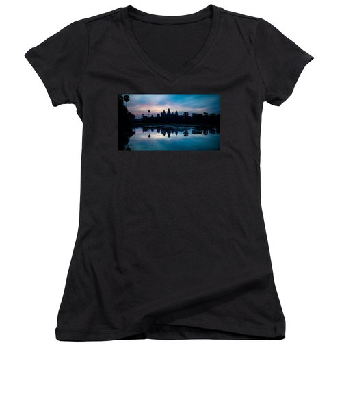 Temple At The Lakeside, Angkor Wat Women's V-Neck