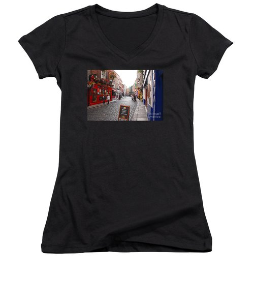 Women's V-Neck T-Shirt (Junior Cut) featuring the photograph Temple Bar by Mary Carol Story