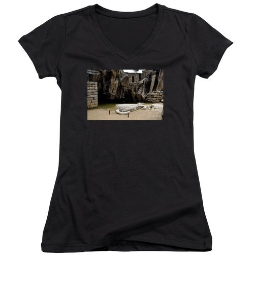 Temple Of The Condor Women's V-Neck T-Shirt (Junior Cut) by Kathy McClure