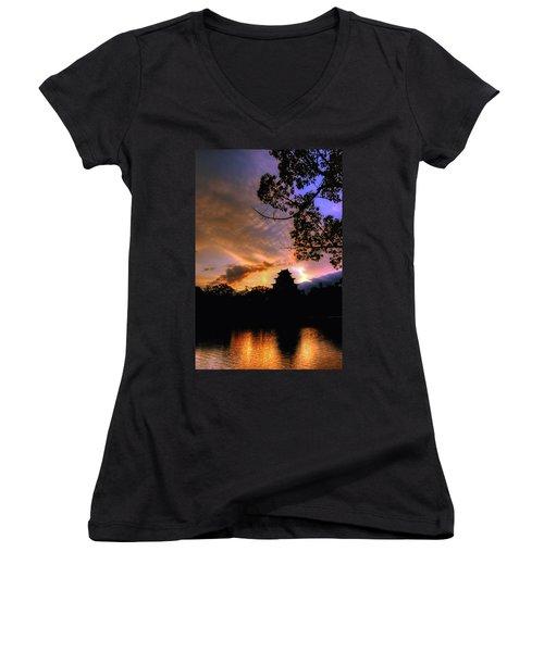 A Temple Sunset Japan Women's V-Neck T-Shirt (Junior Cut) by John Swartz