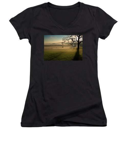 Tennessee Landscape Women's V-Neck T-Shirt (Junior Cut) by Melinda Fawver