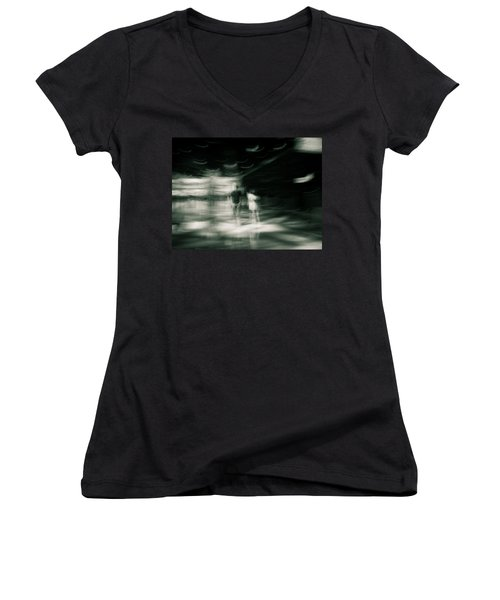 Women's V-Neck T-Shirt (Junior Cut) featuring the photograph Tension by Alex Lapidus