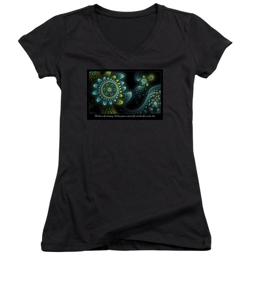Women's V-Neck featuring the digital art Testimony by Missy Gainer