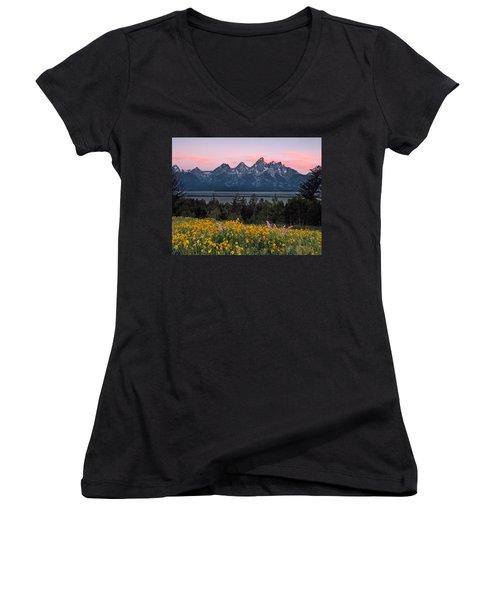 Teton Spring Women's V-Neck T-Shirt (Junior Cut) by Leland D Howard