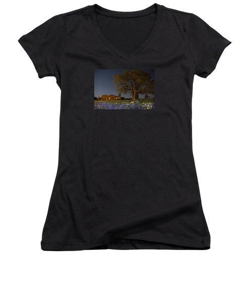 Texas Blue Bonnets At Night Women's V-Neck T-Shirt (Junior Cut) by Keith Kapple