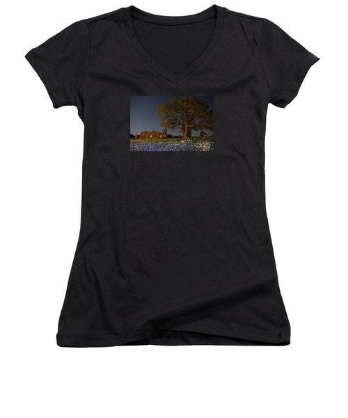 Texas Blue Bonnets At Night Women's V-Neck T-Shirt