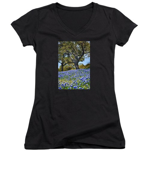 Texas Bluebonnet Hill Women's V-Neck (Athletic Fit)