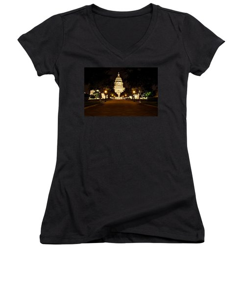 Texas Capitol At Night Women's V-Neck T-Shirt (Junior Cut) by Dave Files