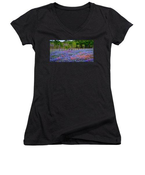 Women's V-Neck T-Shirt (Junior Cut) featuring the photograph Texas Roadside Heaven -bluebonnets Paintbrush Wildflowers Landscape by Jon Holiday