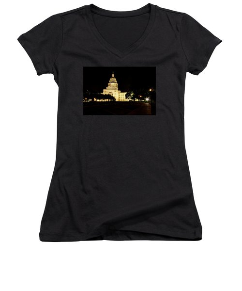 Texas State Capitol Women's V-Neck T-Shirt (Junior Cut) by Dave Files