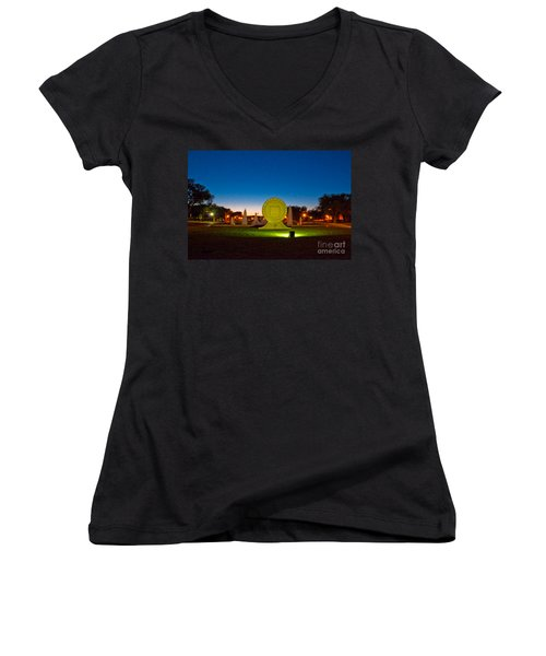 Women's V-Neck featuring the photograph Texas Tech Seal At Night by Mae Wertz