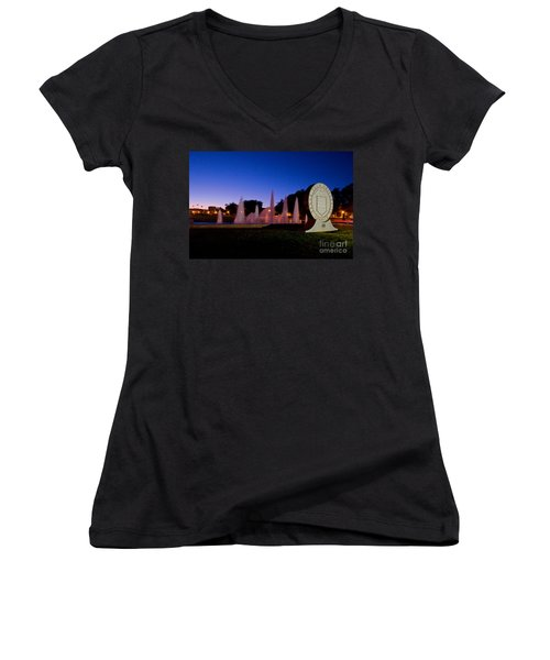 Women's V-Neck featuring the photograph Texas Tech University Seal And Blue Sky by Mae Wertz