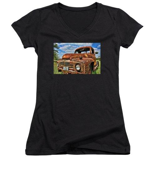 Women's V-Neck T-Shirt (Junior Cut) featuring the photograph Texas Truck by Daniel Sheldon