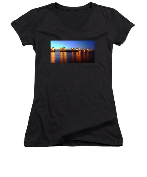 Women's V-Neck T-Shirt (Junior Cut) featuring the photograph London Thames River by Mariusz Czajkowski