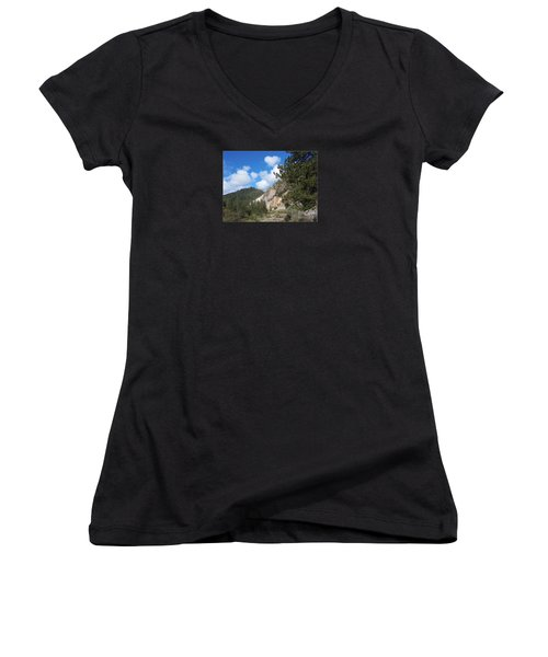Clouds Of Hearts Women's V-Neck T-Shirt (Junior Cut) by Bobbee Rickard