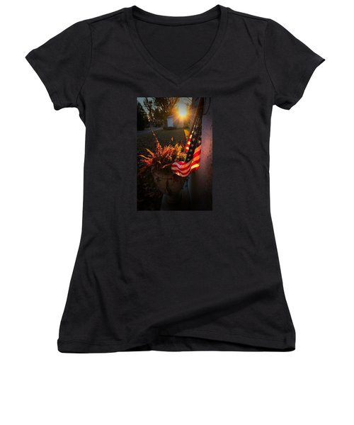 Women's V-Neck T-Shirt (Junior Cut) featuring the photograph Thank You For Serving by Robert McCubbin