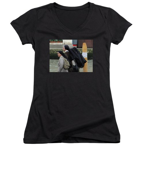 Women's V-Neck T-Shirt (Junior Cut) featuring the photograph Posted Directions by Natalie Ortiz