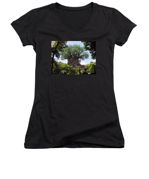 The Amazing Tree Of Life  Women's V-Neck T-Shirt (Junior Cut) by Lingfai Leung