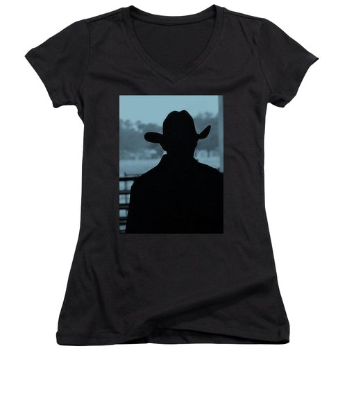 Women's V-Neck T-Shirt (Junior Cut) featuring the photograph The American Cowboy by John Glass