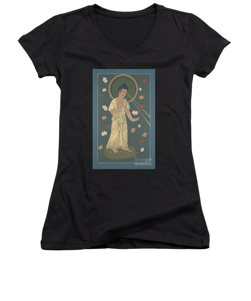 Women's V-Neck T-Shirt (Junior Cut) featuring the painting The Amitabha Buddha Descending 247 by William Hart McNichols