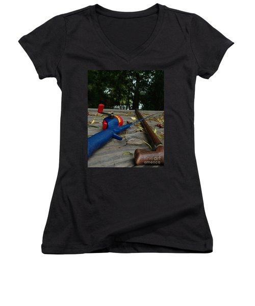 The Anglers Women's V-Neck T-Shirt (Junior Cut) by Peter Piatt