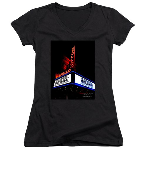 The Apollo Theater Women's V-Neck T-Shirt (Junior Cut) by Ed Weidman