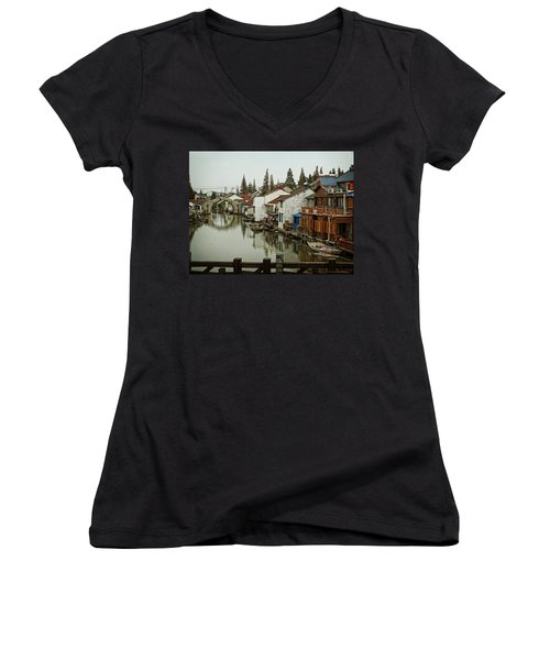 Women's V-Neck T-Shirt (Junior Cut) featuring the photograph The Asian Venice  by Lucinda Walter