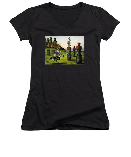The Battle Over Easter Island Women's V-Neck T-Shirt (Junior Cut) by Leah Saulnier The Painting Maniac