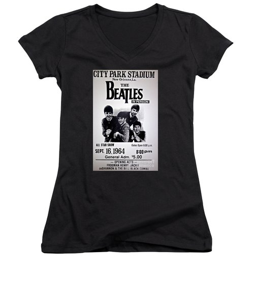 The Beatles Circa 1964 Women's V-Neck (Athletic Fit)