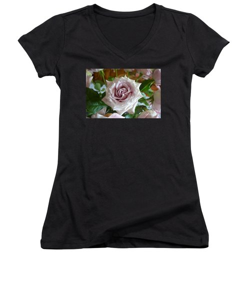 The Beauty Of A Flower Women's V-Neck T-Shirt (Junior Cut) by Jim Fitzpatrick