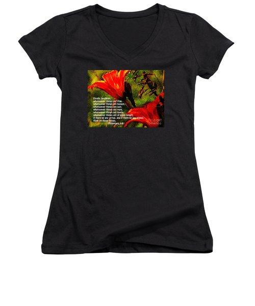 The Bible Philippians 4 Women's V-Neck T-Shirt