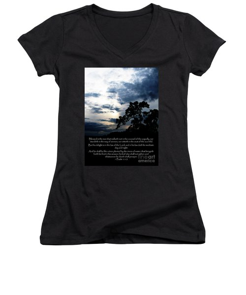 The Bible Psalm 1 Women's V-Neck (Athletic Fit)