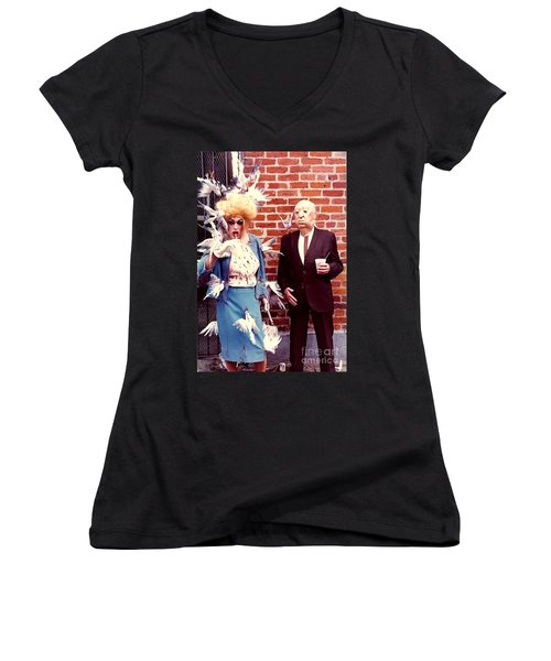 Women's V-Neck T-Shirt (Junior Cut) featuring the photograph New Orleans The Birds And Alfred Hitchcock Mardi Gras Day In The French Quarter In Louisiana by Michael Hoard