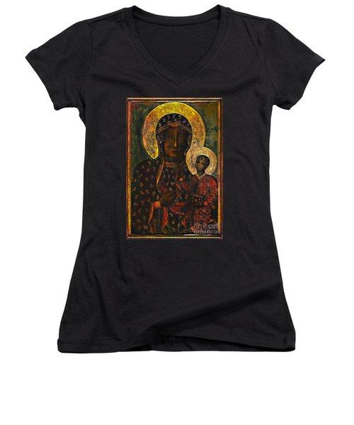 The Black Madonna Women's V-Neck T-Shirt (Junior Cut) by Andrzej Szczerski