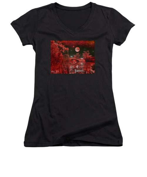 Women's V-Neck T-Shirt (Junior Cut) featuring the photograph The Blood Moon by Michael Rucker