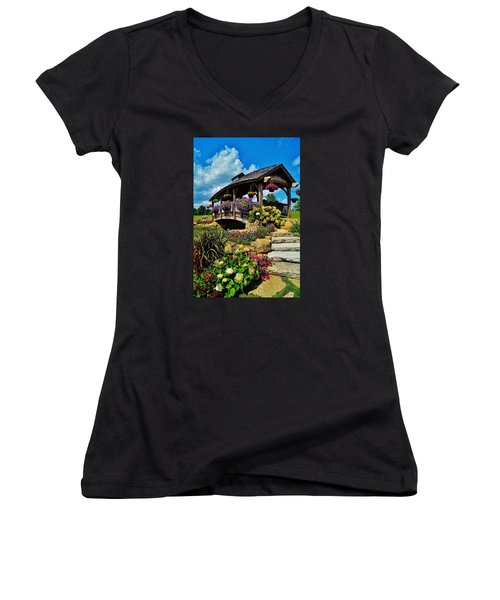 The Bridge  Women's V-Neck T-Shirt (Junior Cut) by Daniel Thompson