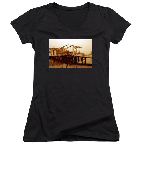 The Bridge Women's V-Neck T-Shirt (Junior Cut) by Menachem Ganon